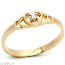 18kt Gold EP Heart Solitaire CZ Ladies Ring New