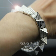 Fab Texture Pyramid Stud Rivet Spike Bangle Bracelet Stretch Goth Punk Biker