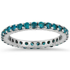 1.00CT Blue Diamond Eternity Ring Stackable Band 14K White Gold Size (4-10)