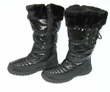 LADIES BLACK FUR TRIM FULL SIDE ZIP UP QUILTED SNOW JOGGER WINTER BOOTS 4, 5 & 6