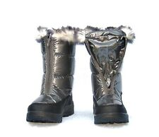 LADIES PEWTER (SILVER) FLAT FUR TRIM, ZIP UP FRONT SNOW JOGGER WINTER BOOTS 3, 5