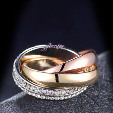 18K Yellow/Rose/White Gold GP 3-in-1 Rings Austrian Crystals Ring Set R586