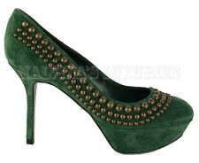 $915 SERGIO ROSSI SHOES STUDDED PUMPS GREEN SUEDE LEATHER HIGH HEEL 37 US 7
