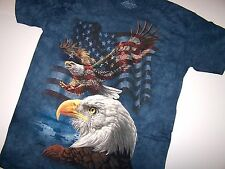 The Mountain Eagle Flag Collage Adult Mountain Classic Dyed Cotton T-Shirt