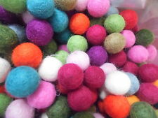 2cm Handmade Wool Felt Balls - packs of 100 mixed colours,Post Free