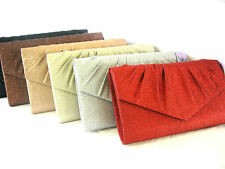 Glamorous Sparkly Large Envelope Glam Glitter Clutch Bag Red Gold  Brown Silver