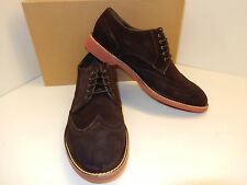 NEW COLE HAAN FRANKLIN DARK BROWN SUEDE WING TIP STYLE OXFORDS W/ MAN MADE SOLE