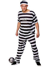 Adult Prison Break Convict Fancy Dress Costume Mens Gents Male BN