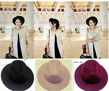 Vintage Ladies Womens Wide Brim 100%Wool felt Hat Floppy Bowler Fedora Cap