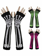 Halloween Women Lady Punk Gothic Rock Skeleton Long Arm Warmer Fingerless Gloves