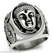 Mens Buddha Face Silver Stainless Steel No Stone Ring