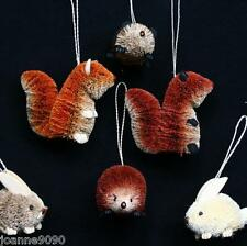 GISELA GRAHAM BRISTLE FOREST WOOD ANIMAL DECORATIONS CHRISTMAS TREE ORNAMENTS