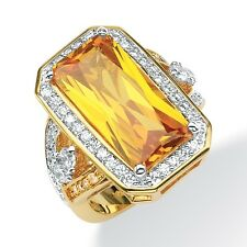 45.52 TCW Emerald-Cut Canary Yellow Cubic Zirconia Cocktail Ring 14k Yellow Gold