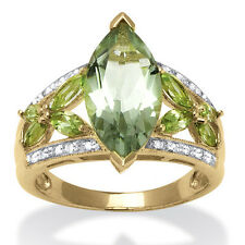 4.83 TCW Marquise-Cut Genuine Green Amethyst and Diamond Ring in 18k Gold over S