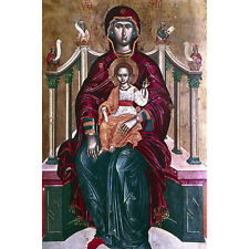 'Painting of the Virgin Enthroned with Child, 17th Century' Canvas Print