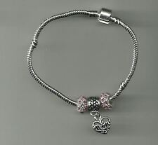Silver Plated Bracelet with Heart Mom Charm & Crystal Beads