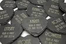 Personalised Heart Shape Slate Coasters, Laser Engraved Wedding Gifts & Favours