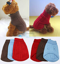 NEW CUTE ARAN KNITTED DOG JUMPER SWEATER PET CLOTHES FOR SMALL DOGS