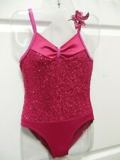 NEW DANCE COSTUME Leotard w/ Sequin Flower Rasberry Girls sizes camisole styling