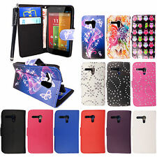 For Motorola Moto G X1032 New Leather Book Type Wallet Flip Case Cover + Stylus