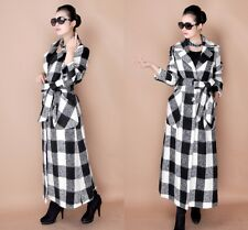 New Fashion Plaid V Neck Womens Casual Full Lenght Trench Coats Jacket Outerwear