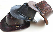 New Hot Western Cowboy Cowgirl Cattleman Hat Party Costume Leather Cowboy Hat