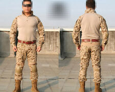 Airsoft Tactical Training Uniform Shirt & Pants w/Knee Pads Digital Desert S-XXL