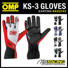 NEW! KK02743 OMP KS-3 KART KARTING GLOVES ANTI-SKID RUBBER INSERTS in 5 COLOURS