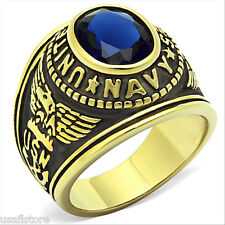 Montana Blue US Navy Military Gold EP Stainless Steel Mens Ring