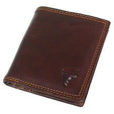New Men's Women's Leather Credit Card Mini Wallet Bulls Embossed Mark Purse
