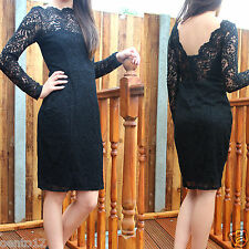 NEXT Premium Black Vintage Inspired Lace Open Back Bodycon Wiggle Cocktail Dress