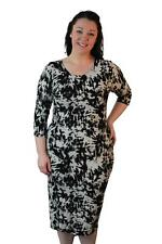 WOMENS PLUS SIZE TIE DYE PRINT BODY CON 3/4 SLEEVE SEXY MIDI DRESS14-28 NEW