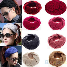 Ladys Crochet Twist Knitted Braid Headwrap Headband Winter Warmer Hair Band BD4U
