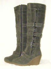 LADIES OR GIRLS DRK GREY KNEE LENGTH FAUX SUEDE, ZIP UP WINTER WEDGE BOOTS 3(36)