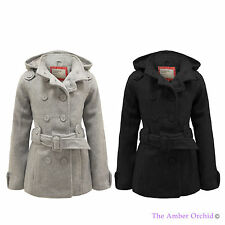 GIRLS BELTED HOODED WARM FLEECE BACK TO SCHOOL MILITARY JACKET KIDS COAT AGE7-13