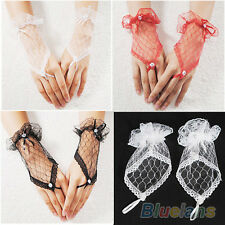 Sexy Lace Wrist Fingerless Wedding Evening Party Bridal Short Gloves Dress BF4U