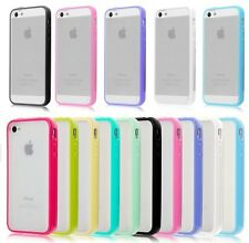 TPU BUMPER WITH CLEAR HARD BACK CASE COVER FOR NEW APPLE iPHONE 4 4S iPHONE 5 5S