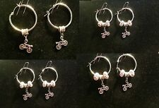 Bicycle Bike Earring with Charm & Crystal Beads Sports