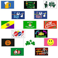 5' x 3' Celebration Flags With 2 Metal Eyelets - Halloween Party Birthday