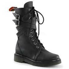 DEMONIA RAGE307/BPU Women's Black Criss Cross Buckle Military Combat Boots Shoes