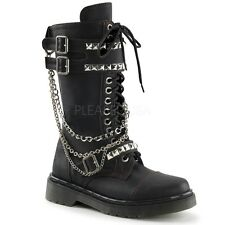 DEMONIA RAGE-315 Women's Gothic Punk Chained Studded Strap Combat Goth Boots