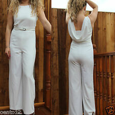 NEXT CREAM IVORY TAILORED FORMAL COWL BACK WIDE LEG JUMPSUIT OFFICE EVENING