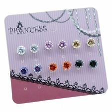 Pack of 6 Pairs Color Cubic Zirconia Crystal Magnetic Stud Earrings Teen Girls