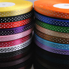 "10/50Y Lots Color Printed Dots Satin Ribbon Craft/Wedding/Party 3/8"" RG063"