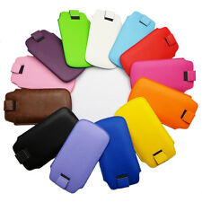 For Multi Phone Model Texture Leather PULL TAB Pouch Sleeve Bag Case Cover Soft