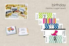 90 HERSHEY NUGGET LABELS Personalized Birthday Party Fun Favors Cute Wrappers
