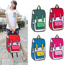 New 3D Jump Style 2D Drawing Cartoon School bag Backpack Comic Messenger Tote