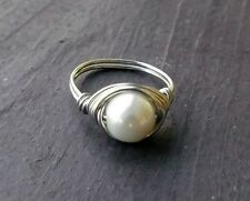 Silver wire wrapped ring with 8mm white glass pearl