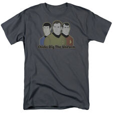 Star Trek Animated Series Kirk Spock McCoy Chicks Dig The Uniform Cartoon TShirt