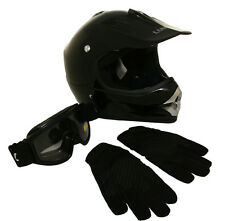 Lunatic Youth MX / ATV Gloss Black Helmet, Goggles & Gloves - DOT Approved